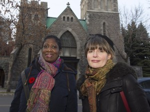 MONTREAL, QUE.: NOVEMBER 11, 2015 -- Author Bonnie Farmer, left, and illustrator Marie Lafrance stand outside the Union United Church in Little Burgundy onWednesday November 11, 2015. Farmer and Lafrance, have collaborated on the picture book Oscar Lives Next Door. The book is about late Montreal piano legend Oscar Peterson, who grew up in Little Burgundy. (Pierre Obendrauf / MONTREAL GAZETTE)