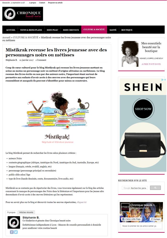 Presse - Chronique Beauté Noire (Mistikrak)